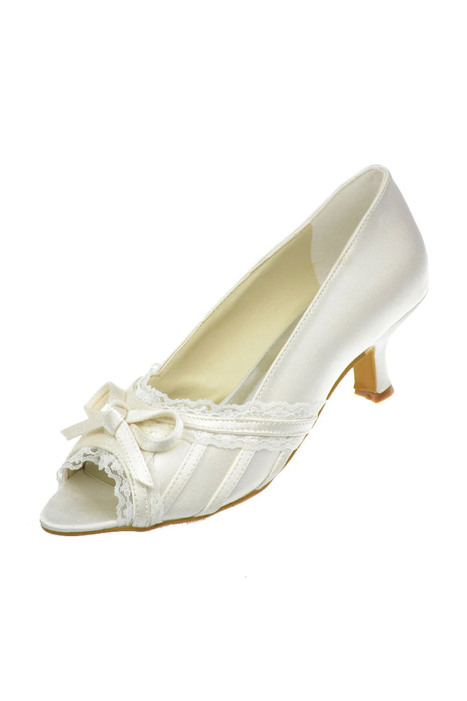 Vintage Ivory Lace Peep Toe Wedding Shoes With Bow Knot S68