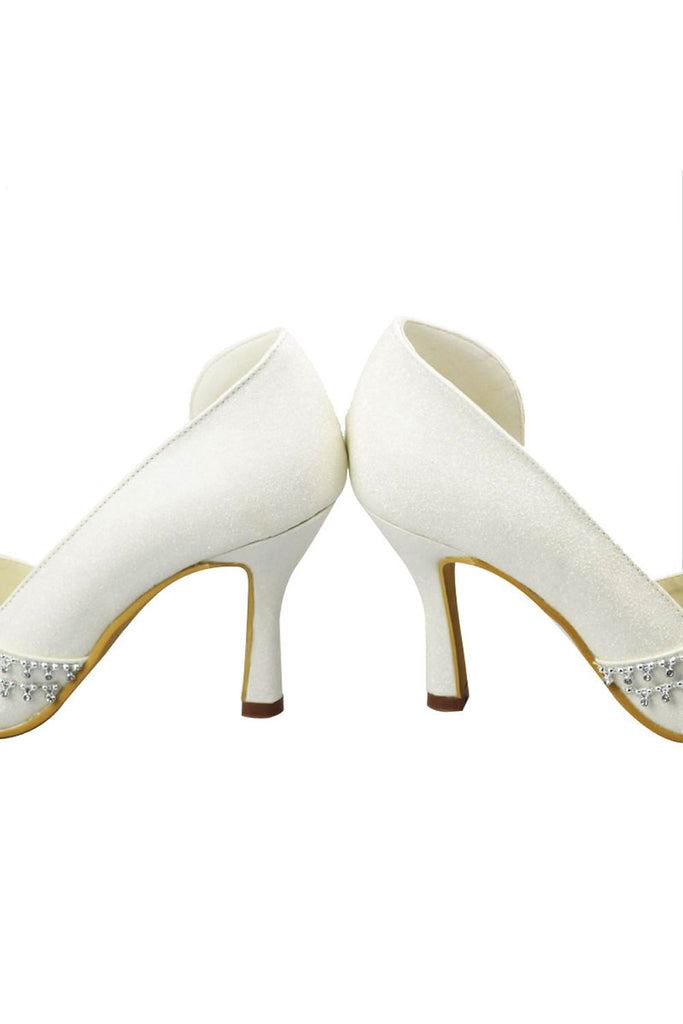 Simple Ivory Beading High Heel Handmade Wedding Shoes S7