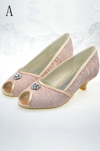 Pretty Pink Low Heel Beading Handmade Comfy Women Shoes S71