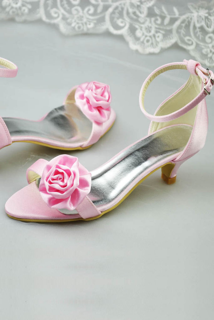 Pretty Pink Lace Up Low Heel Handmade Sandals With Flowers S73