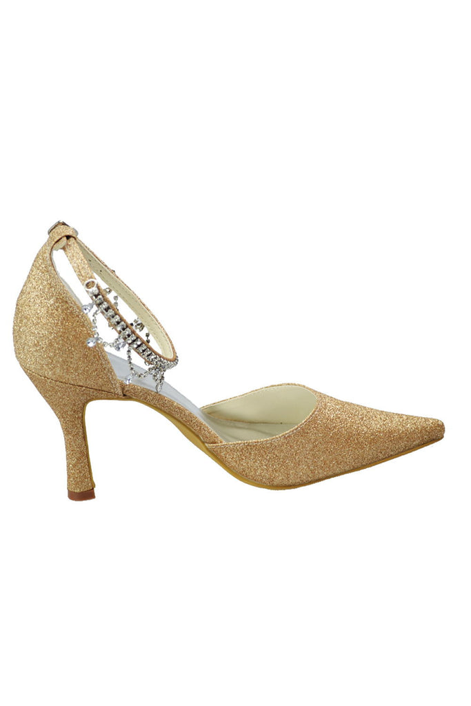 Gold Sequin Shiny Gorgeous Sparkly Ankle Strap Shoes For Women S75