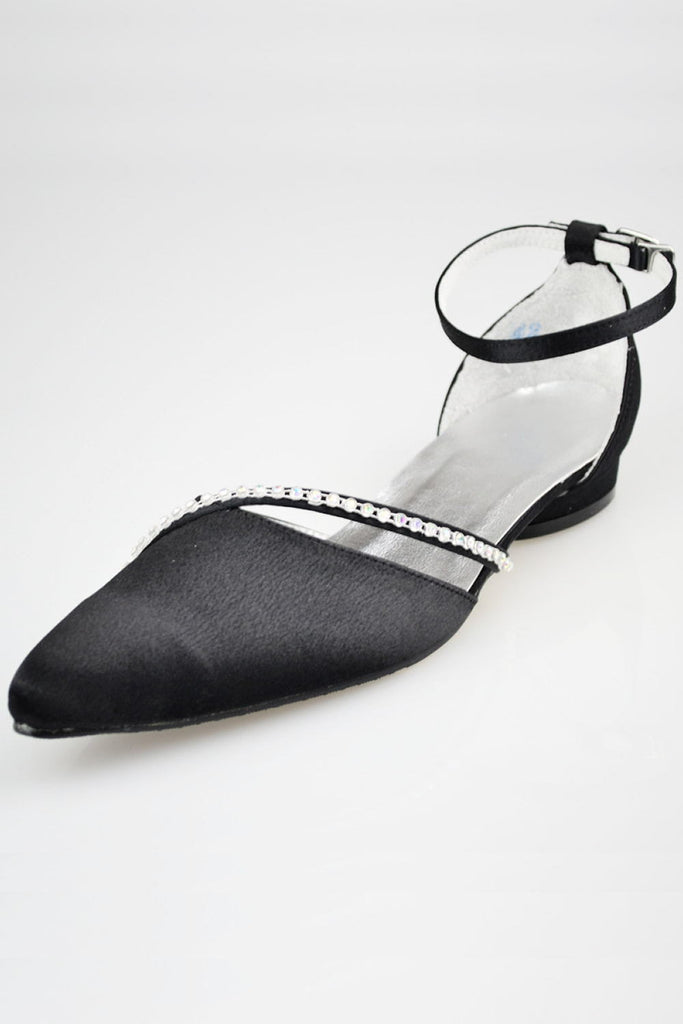 Lovely Black Beading Handmade Ankle Strap Women Shoes S77