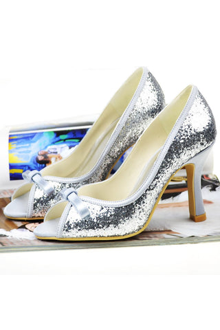 Sparkly Sequin High Heel Peep Toe Wedding Shoes With Bow S9
