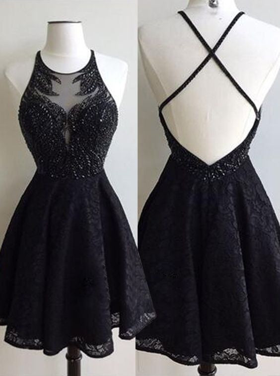 Fashion A-Line Round Neck Black Backless Lace Beaded Short Homecoming/Prom Dress OK309