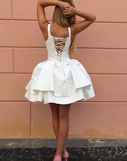 Cute A-Line Lace Up Back White Satin Short Homecoming Dress,Graduation Dresses OK517