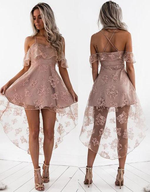 High Fashion A-Line Lace Off-Shoulder High Low Short Homecoming Dress OK456