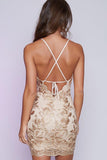 Mini Backless Homecoming Dresses,Sexy Sheath Sequins Cocktail Party Dresses OK295