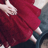 Half Sleeves Burgundy Lace V Neck Short Homecoming Dresses,Elegant Prom Dress OK297
