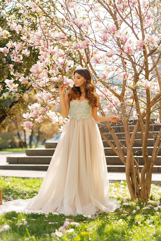 Princess A-line Spaghetti Straps Tulle Sweetheart Prom Dresses With Lace Appliques OK415