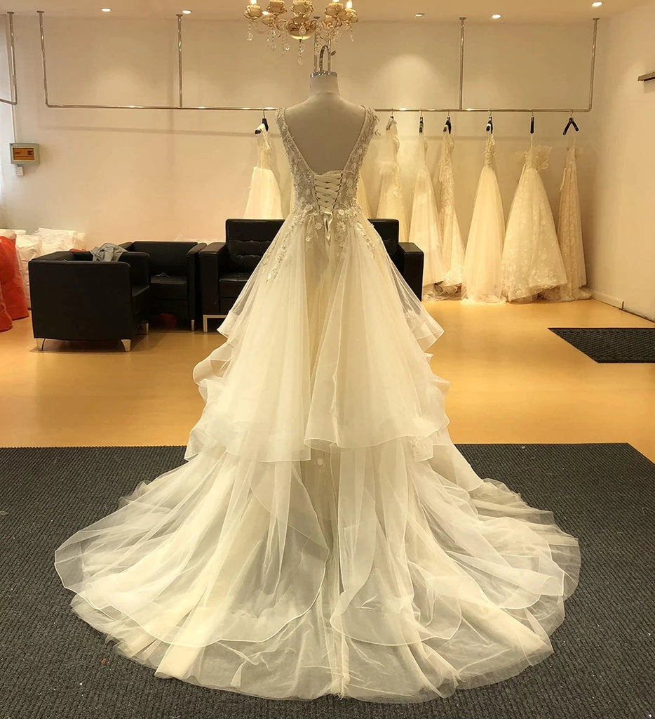 Gorgeous Appliques A-Line V-neck Wedding Dresses Beaded Bridal Gown OKV18