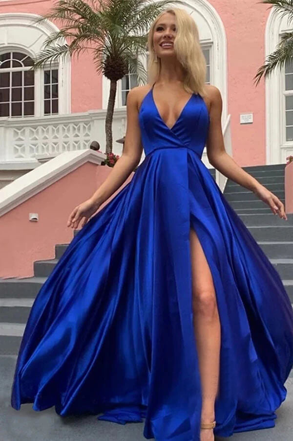 Royal Blue Prom Dresses New Elegant Long Side Split Dress Evening Wear OKW29