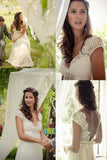 Elegant Cap Sleeve A Line V Back Cheap Long Lace Backless Wedding Dresses OK389