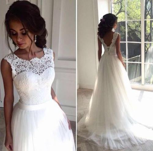 White Lace Sleeveless Wedding Dresses,Sexy Tulle A Line Long Bridal Gowns OK390