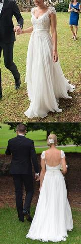 Unique Ivory Cap Sleeves Lace Top Backless Chiffon A Line Beach Wedding Dresses OK381