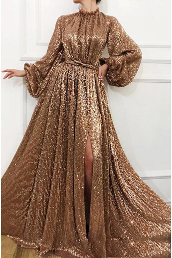 Charming A Line Long Sleeve Sequin High Neck Prom Dresses OKH60