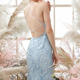 Sky Blue Long Mermaid Lace Appliques Prom Dresses With Rhinestones OKW66