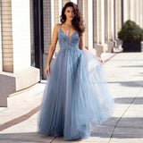 Dusty Blue Tulle Long Prom Dresses Beaded Aline Formal Gowns For Party OKW69