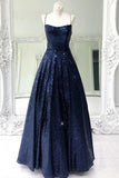 Shiny Navy Blue Long Prom Dresses,Sequin Cris Cross Long Formal Evening Dresses OKX2