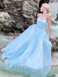 Shiny Sky Blue Spaghetti Straps Prom Dresses, Criss Cross Back A Line Formal Evening Dresses OKX10