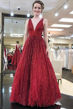Charming Burgundy V Neck Sleeveless Sequin Prom Dresses A Line Formal Party Dress OKI56