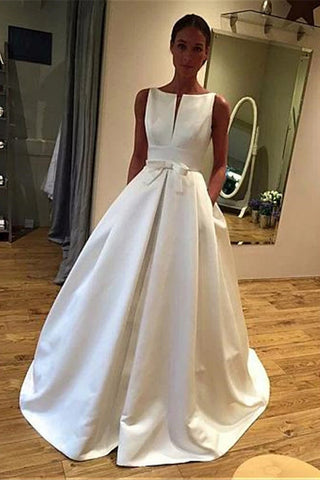 Boho A Line Satin Beach Wedding Dresses Sleeveles Bowknot Bridal Gown With Pockets OKX4