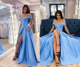 Sky Blue Prom Dresses Sexy V-neck OFF shoulder High Split A Line Evening Dresses OKW76