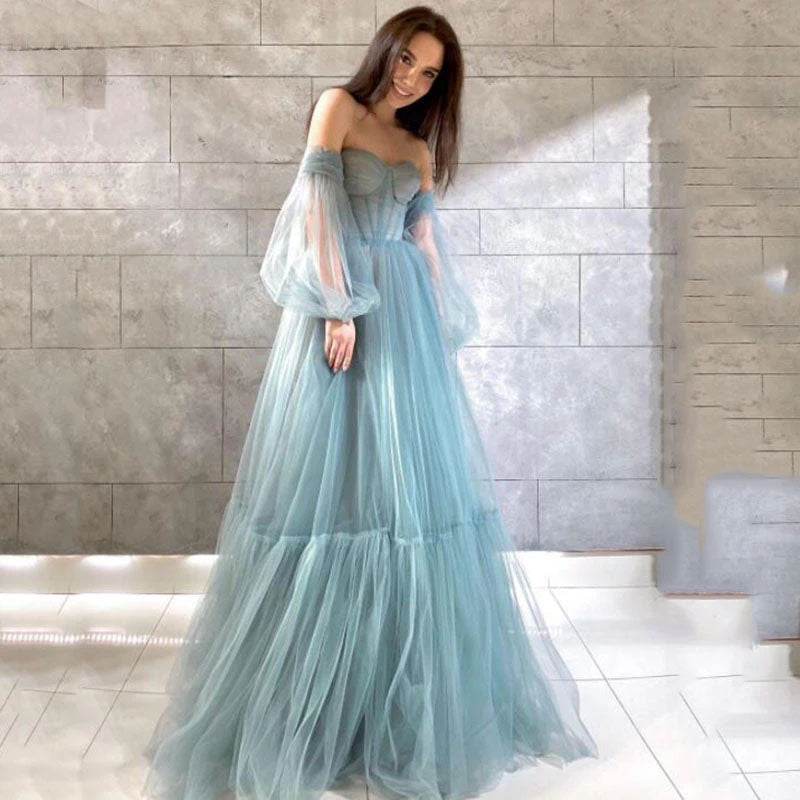 A Line Sweetheart Prom Dresses Puff Sleeve Elegant Formal Long Evening Gowns OKW84