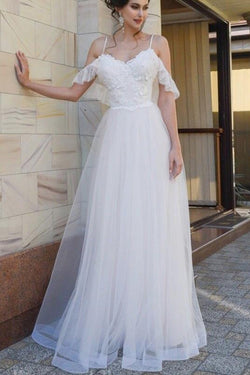 Spaghetti Straps Lace Dropped Sleeves Tulle A Line Beach Wedding Dress OKH83