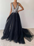 Sparkly A-Line Tulle Sequins Deep V Neck Black Long Prom Dresses OKV43