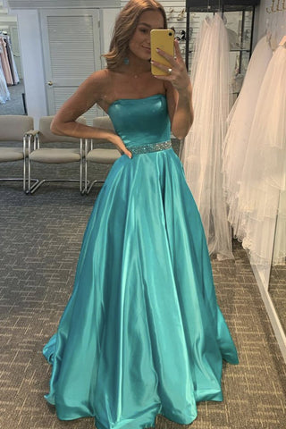 Strapless Green Satin Long Prom Dresses, A Line Beaded Formal Evening Dresses OKX8