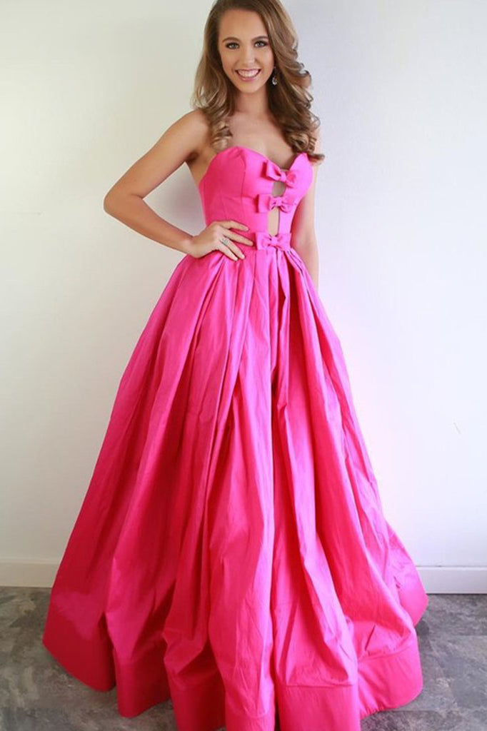 Strapless Hot Pink Satin Long Prom Dresses With Bowknot, A Line Formal Evening Dresses OKX12