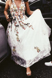 Charming Long Floral Lace Prom Dress A Line V Neck Cheap Wedding Dress OKH88