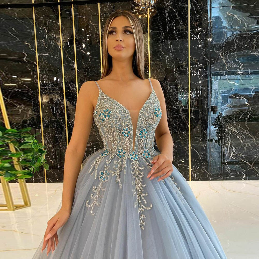 Dusty Blue Ball Gown Prom Dresses Long Spaghetti Straps Tulle Crystals Beaded Formal Party Dress OKV97