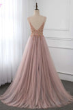 Sweet Dusty Pink Crystal Prom Dresses Long Straps Spaghetti Tulle Evening Gown OKV96