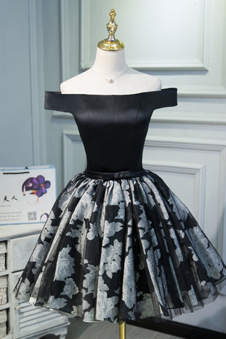 A Line Black Off the Shoulder Homecoming Dresses, Short Prom Dress OKN69