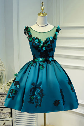 A Line Flower Appliques Round Neck Homecoming Dresses, Blue Short Prom Dress OKN71
