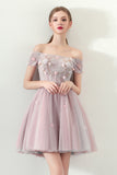 A Line Off the Shoulder Tulle Homecoming Dresses,Short Prom Dress OKC61