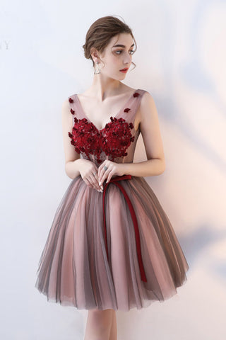 Charming A Line V Neck Red Flowers Short Tulle Homecoming Dresses OKC65