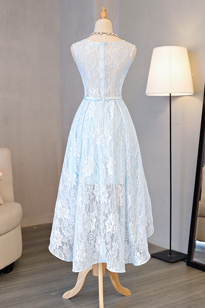 Light Blue Lace Round Neck High Low Halter Bow Prom/Homecoming Dresses,Sweet 16 Dress OK248