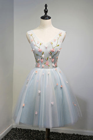 A Line Light Blue Floral Short V Neck Tulle Homecoming Dresses OKD3