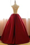 Red Quinceanera Dresses,Floral Satin Aline long Applique Ball Gown Prom Dress OK240