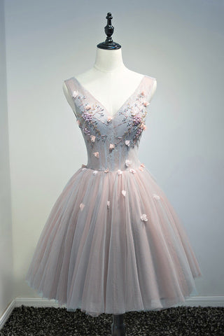 A Line Lace Floral Short V Neck Tulle Homecoming Dresses OKD2