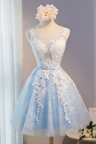 A Line Lace Appliques Round Neck Sky Blue Short Homecoming Dresses OKD7
