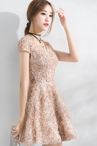 Beautiful A Line Short Sleeves Mini Lace Homecoming Dresses OKC52