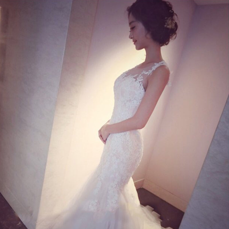 Mermaid Tulle Lace Sleeveless Long Count Train Wedding Dress OK640