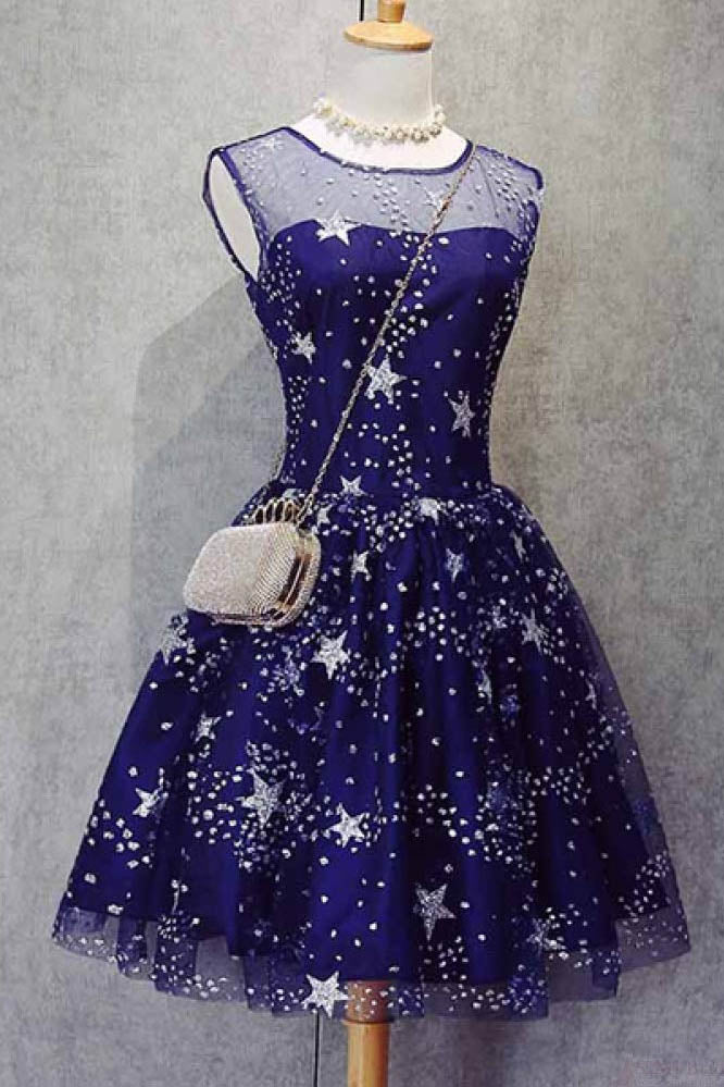 A Line Knee Length Beading Royal Blue Homecoming Dresses,Short Party Dresses,Bling Prom Dresses Cocktail Dresses Graduation Dresses