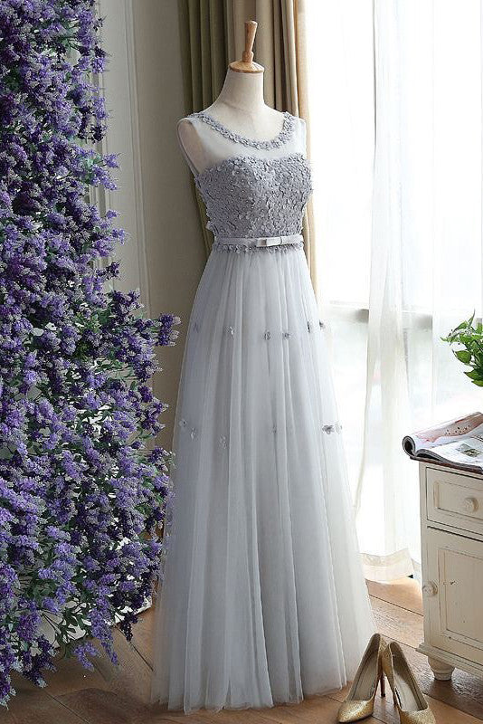 Unique Prom Dress,A Line Prom Dresses, Charming Prom Dresses,Gray Evening Dress,Gray Prom Gowns, Floral  Women Dress,Long Prom Dress