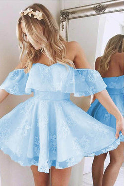 Short A Line Sweetheart Ruffles Prom Dresses,Off Shoulder Cute Lace Blue Homecoming Dress OK491