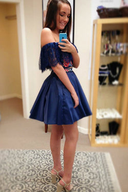 Two Piece Off the Shoulder Floral Satin Dark Blue Homecoming Dresses OKE8