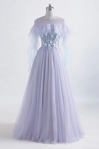 Princess Tulle Jewel Floor-length Prom Dress With Lace Appliques OKU60